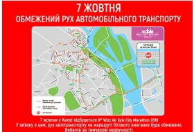 Перекриття вулиць у центрі Києва 6-7 жовтня