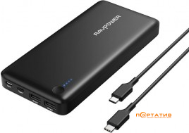 RavPower USB C Power Bank 26800mAh 30W for Laptops, MacBook Black (RP-PB058)