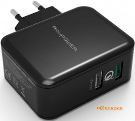 RavPower USB Qualcomm Quick Charge 3.0 30W Dual USB Plug Wall Charger Black (RP-PC006BK)
