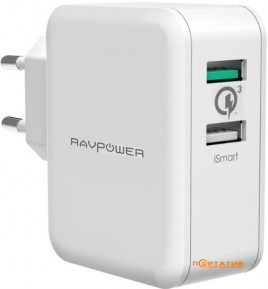RavPower USB Qualcomm Quick Charge 3.0 30W Dual USB Plug Wall Charger White (RP-PC006WH)