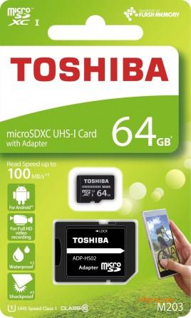 Toshiba microSDHC 64GB Class 10 UHS-I Exceria M203 R90 (THN-M203K0640EA)