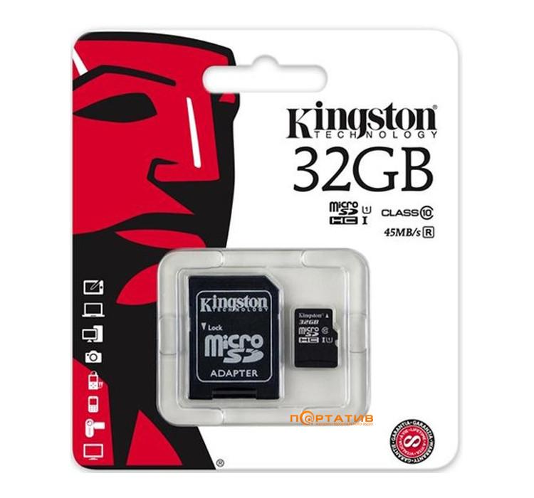Kingston microSDHC 32GB Class 10 UHS-I + SD Adapter (SDC10G2/32GB)