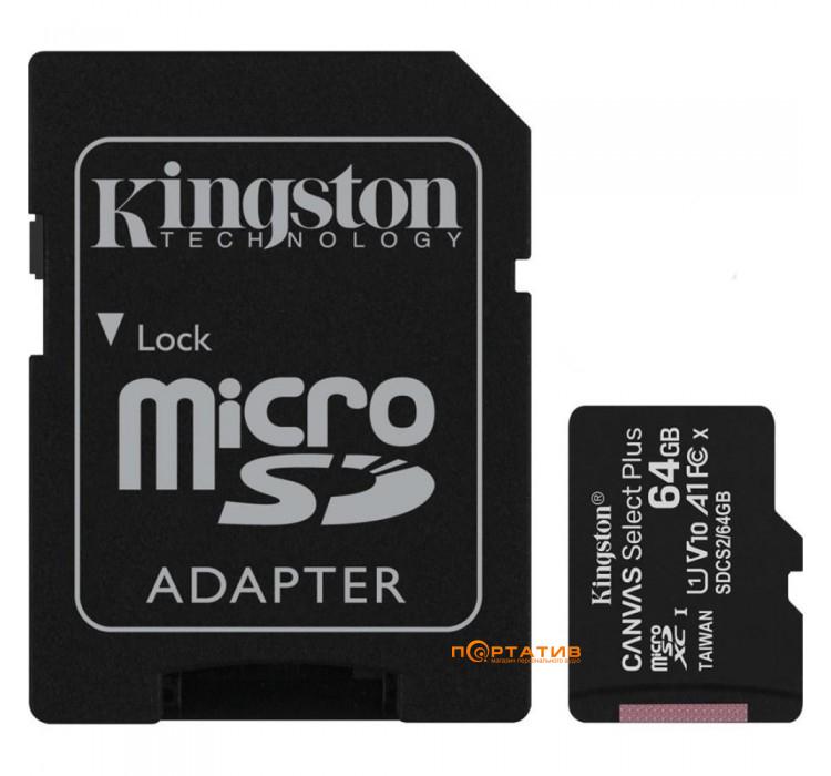 Kingston microSDXC 64GB UHS-I Canvas Select Plus + SD Adapter (SDCS2/64GB)