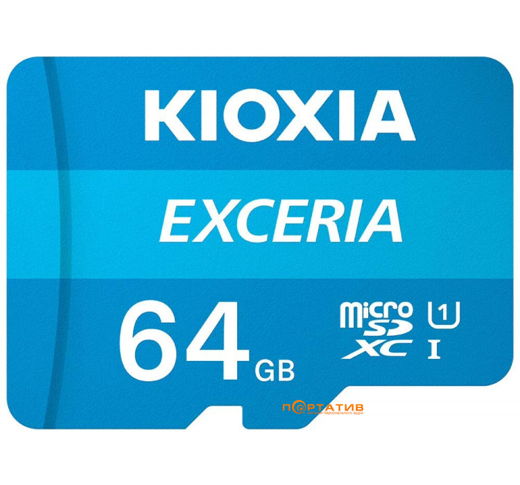 Kioxia microSDXC Card 64GB Exceria Class 10 UHS U1 + SD Adapter (LMEX1L064GG2)