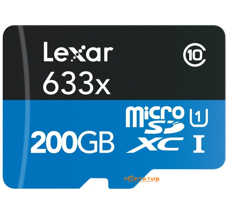 Lexar 200GB Micro SDXC 633x UHS-I C10 High-Performance + USB3.0-адаптер (LSDMI200BBEU633R)