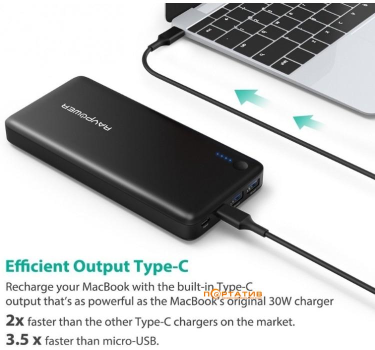 RavPower USB C Power Bank 20100mAh Type C Port iSmart Data Transfer, 30W for Laptop Black (RP-PB059)
