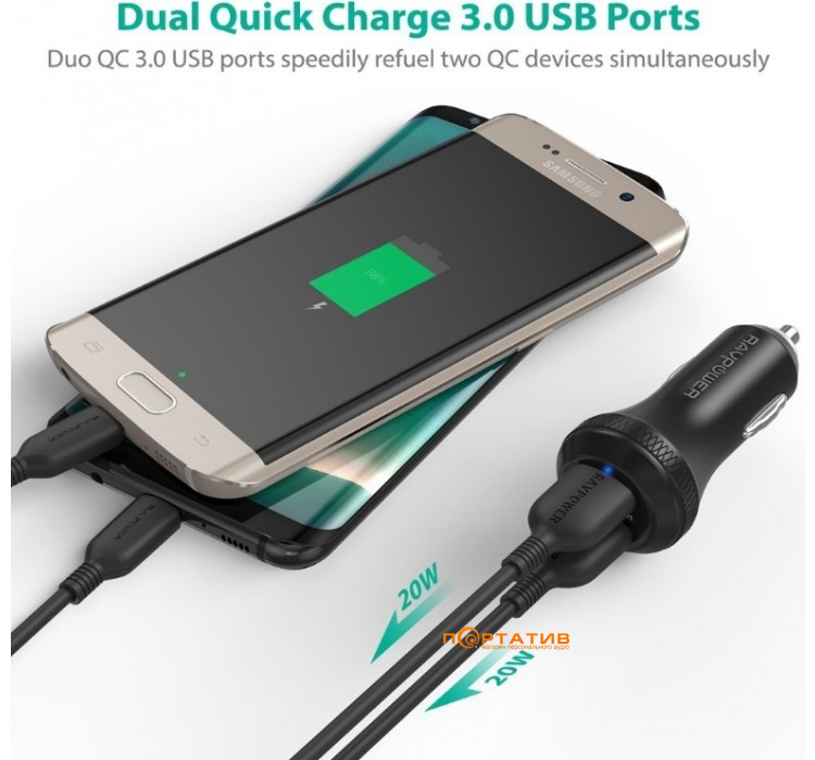 RavPower Qualcomm Quick Charge 3.0 36W Dual USB Car Charger (RP-VC007)