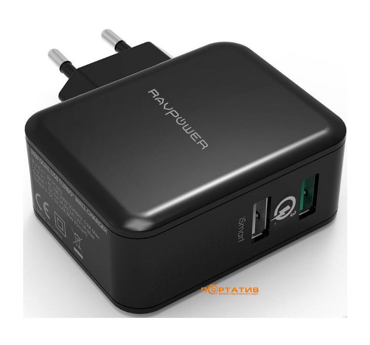RavPower USB Qualcomm Quick Charge 3.0 30W Dual USB Plug Wall Charger Black (RP-PC006BK)