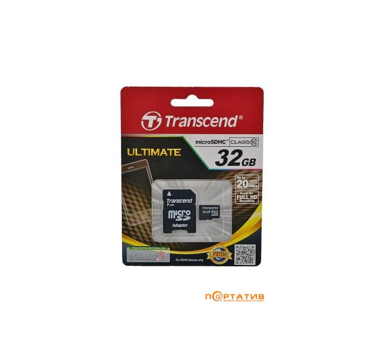 Transcend microSDHC 32GB Class 10 UHS-I + SD Adapter (TS32GUSDU1)