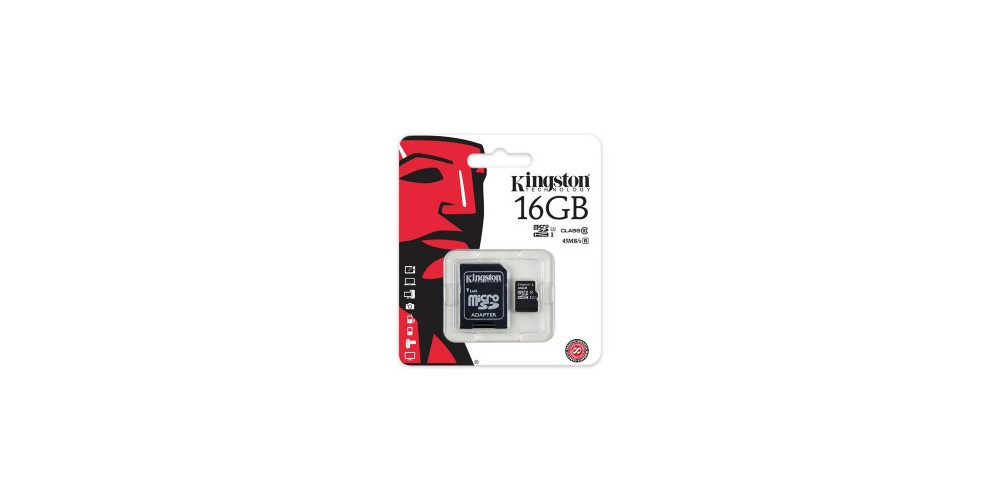Kingston microSDHC 16GB Class 10 UHS-I + SD Adapter (SDC10G2/16GB)