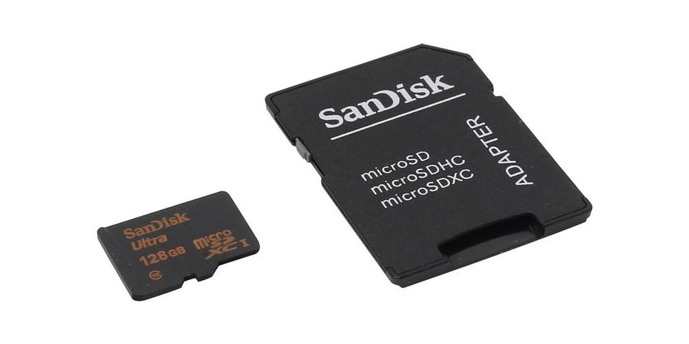 SanDisk microSDXC 128GB Ultra UHS-I + SD Adapter (SDSQUNC-128G-GN6MA)