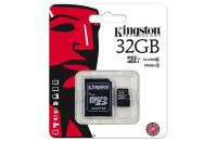 Карты памяти и кардридеры Kingston microSDHC 32GB Class 10 UHS-I + SD Adapter (SDC10G2/32GB)