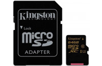 Карты памяти и кардридеры Kingston microSDXC 64GB Class 10 UHS-I U3 4K (SDCG/64GBSP)