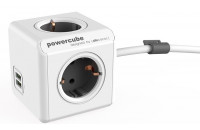 Кабели и удлинители Allocacoc PowerCube Extended USB Grey 1.5м, 4 розетки с USB (1402GY/DEEUPC)