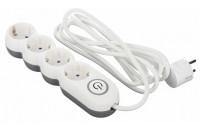 Кабели и удлинители 2E Extension Cord with Toggle 4 Sockets 3G*1.0 мм 3 m White (2E-U04VESM3W)