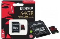 Карты памяти и кардридеры Kingston microSDXC 64GB UHS-I U3 Canvas React + SD Adapter (SDCR/64GB)