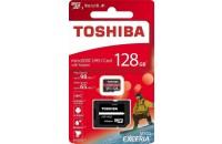 Карты памяти и кардридеры Toshiba microSDXC 128GB Exceria M303 Class 10 UHS-I + SD Adapter (THN-M303R1280E2)