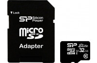 Карты памяти и кардридеры Silicon Power 32 GB microSDHC UHS-I Elite + SD adapter SP032GBSTHBU1V10-SP