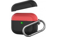 Аксессуары для наушников AHASTYLE Two Color Silicone Case with Carabiner for Apple AirPods Pro Black/Red (AHA-0P400-BBR)