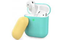 Аксессуары для наушников AHASTYLE Two Color Silicone Case for Apple AirPods Mint Green/Yellow (AHA-01380-MMY)