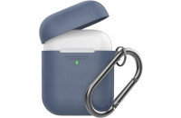 Аксессуары для наушников AHASTYLE Silicone Duo Case with Carabiner for Apple AirPods Navy Blue (AHA-02060-NBL)