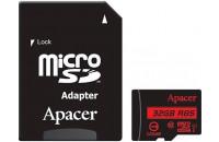 Карты памяти и кардридеры Apacer microSDHC 32Gb UHS-I Class10 + SD Adapter (AP32GMCSH10U5-R)