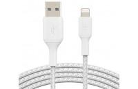 Belkin USB-A - Lightning BRAIDED 1 m White (CAA002BT1MWH)