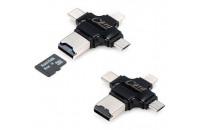Карты памяти и кардридеры COTEetCI 4 in 1 Card Reader Black (CS5125-BK)