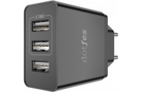 Мобильные телефоны Dotfes 3-Port USB Home Charger C05 2.4A Max Black (DF-C05-HC-BL)