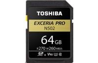 Карты памяти и кардридеры Toshiba SD-Card 64GB EXCERIA PRO N502 UHS-II U3 (THN-N502G0640E6)
