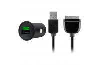 Кабели, зарядные уст-ва, аккумуляторы Belkin USB Micro Charge (12V + 30 pin cable, USB 2.1Amp) Черный (F8Z689CW)