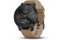 Смарт-часы Garmin Vivomove HR Premium Onyx Black with One-Size Tan Suede Band (010-01850-00)