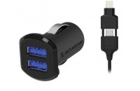 Кабели, зарядные уст-ва, аккумуляторы Scosche Dual USB Car Charger 12W (2.4A) Black with Lightning & Micro USB cable (I3MC242M)