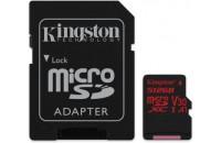 Карты памяти и кардридеры Kingston microSDXC 512GB UHS-I U3 Canvas React + SD Adapter (SDCR/512GB )