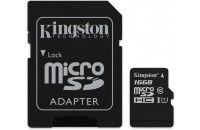 Карты памяти и кардридеры Kingston microSDHC 16GB Class 10 UHS-1 + SD Adapter (SDCS/16GB)