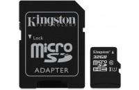 Kingston microSDHC 32GB Class 10 UHS-I + SD Adapter (SDCS/32GB)