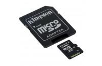 Карты памяти и кардридеры Kingston 64 GB microSDXC class 10 + SD Adapter