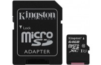 Экшн-камеры Kingston microSDXC 64GB Class 10 UHS-I Canvas Select + SD Adapter (SDCS/64GB)