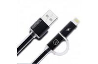Кабели, зарядные уст-ва, аккумуляторы Remax USB Lightning/MicroUSB Cable Aurora 2in1 Black