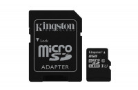 Kingston microSDHC 8GB Class 10 UHS-I + SD Adapter (SDC10G2/8GB)
