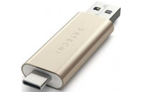 Карты памяти и кардридеры Satechi Aluminum Type-C USB 3.0 and Micro/SD Card Reader Gold (ST-TCCRAG)