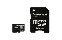Карты памяти и кардридеры Transcend 64 GB microSDXC UHS-I Premium + SD Adapter TS64GUSDU1