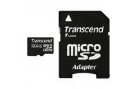 Карты памяти и кардридеры Transcend 32GB MicroSDHC (Class4) + SD adapter (TS32GUSDHC4)