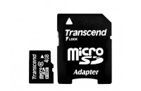 Карты памяти и кардридеры Transcend 4Gb Micro SDHC (Class 4) + SD adapter (TS4GUSDHC4)
