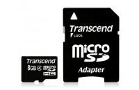 Карты памяти и кардридеры Transcend 8GB MicroSDHC (Class4) + SD adapter