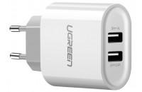 Кабели и зарядные уст-ва UGREEN Wall Charger CD104 2xUSB 3.4A White