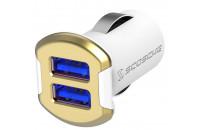 Кабели, зарядные уст-ва, аккумуляторы Scosche reVOLT Dual USB Car Charger 12W (2.4A) Gold (USBC242MGD)